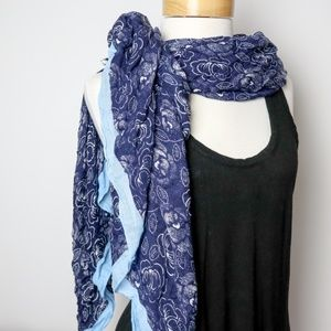 Navy Ruffled Nautical Scarf